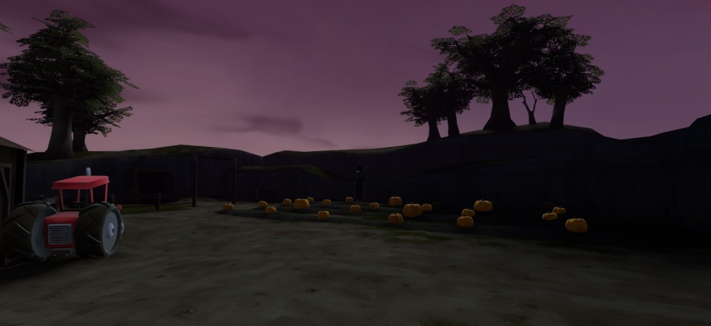 Detail area showing a pumpkin patch, scarecrow and silhouetted trees.