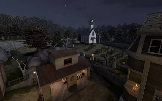 A view over Control Point B showing the graveyard and church on the hill in artpass_ym
