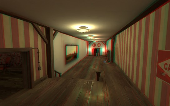 A corridor inside Mann Manor from artpass_ym in red/blue anaglyph